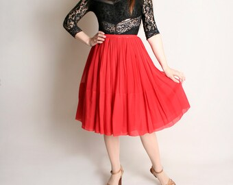 Vintage Red Chiffon Skirt - 1960s 1950s Style Sheer Party Full Skirt - Small