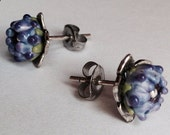 Lavender Bud Studs with Silver Flower Post
