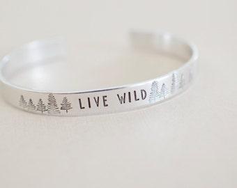 Live Wild Cuff Bracelet - Wilderness Bracelet - Skinny 1/4 inch