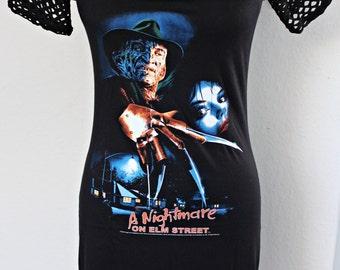 Nightmare on Elm Street Freddy mini dress shirt tunic top horror alternative clothing apparel altered diy reconstructed