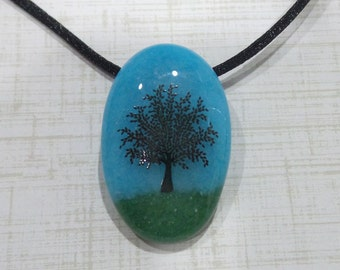 Tree Necklace, Fused Glass Pendant, Green and Blue Pendant, Ready to Ship, Gift for Wife, Oval Pendant, Fused Glass Jewelry - Summertime -6