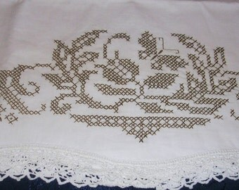 "Floral Cross Stitch Single Pillowcase Shades of Brown 19"" X 33"" P0526b"
