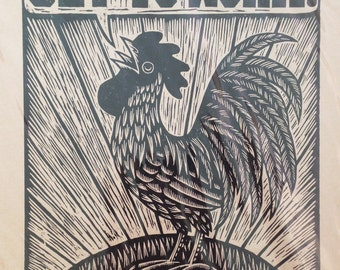 Rooster Art, Hand Printed Woodcut Rooster Art Print, Get to Work Poster, Woodcut Hand Printed Poster Print, , Retro Woodcut Print