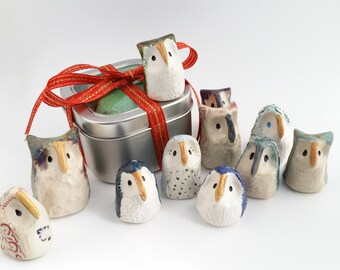 Miniature Ceramic Owls, Three Surprise Owls, Gift Tin of Owls