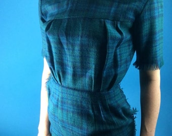 Saks Fifth Ave 50s 60s Hourglass FRINGE Teal Plaid Wool Dress XS/S Vintage Peter Pan Collar Super Cute!