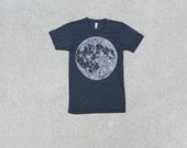 MOON tshirt - mens graphic tee - full moon screenprint - Fathers Day gift - astronomy shirt - mens t shirt - lunar print on tri black