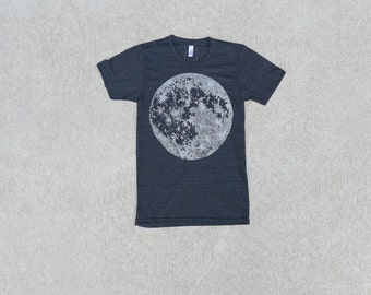 Mens Moon shirt - mens graphic tee - full moon screenprint - Fathers Day gift - astronomy shirt - mens t shirt - lunar print on tri black