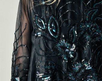 Vintage Sheer Black Embellished Blouse