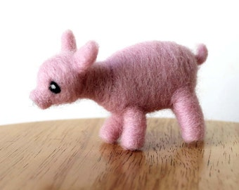 Needle Felted Piglet Figure - Pig Soft Sculpture - Made to Order - Felt Cute Piglet - Farm Animal Art Doll - Made to Order