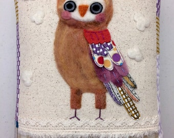 Owl Love in Purples Needle Felted and Stitched Pillow with Collaged Feathers from Upcycled Fabric by Val's Art Studio, Unique Art Pillow