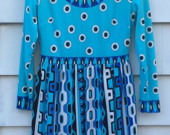 Vintage Mr. Dino Psychedelic Knit Dress Op Art Graphic Print