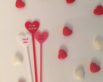 Customizable Heart Drink Stirrers- Set of 6 Personalized Laser Cut Acrylic Swizzle Sticks
