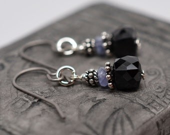 Sterling silver, black spinel, tanzanite and titanium simple gemstone dangle earrings