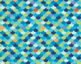 Under the Sea Scallop Organic Cotton Fabric Blue Fish Scales Monaluna