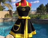 Batman Inspired Sassy Apron with Petticoat, Womens Misses, Plus Sizes, Little Girls Sizes, Comicon Dress Up Costume Gotham Batman and Robin