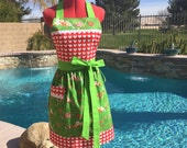 Love Birds Sassy Apron, Womens Misses and Plus Sizes, Retro Style with gathered waist, Love & Joy Dena Designs
