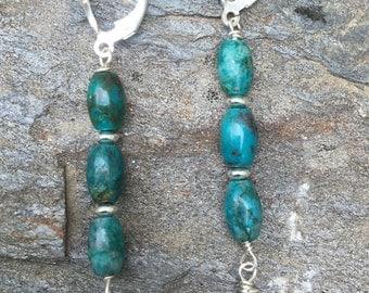 Sterling Turquoise Flower Earrings