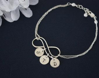 Infinity Initial Bracelet Personalized, Initial Charms, Infinite Jewelry, Sterling Silver, Mother Bracelet, Grandma, Infinite Friendship