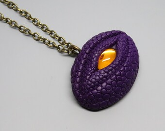 Dragon Eye Pendant Necklace Polymer Clay, Purple with Vintage Golden Cabochon