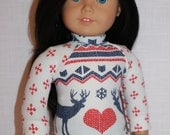18 inch doll clothes, red, white and blue fair isle print shirt, christmas doll shirt,  Maplelea