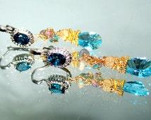 18k Gold Sterling Silver London Blue Topaz Swiss Blue Topaz  Black Opal Gemstone Chandelier Earrings