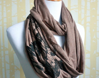 Goose Feathers Infinity Scarf in your choice of 3 colors, hand printed original illustration, American grown and sewn
