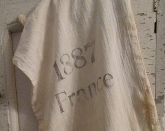 Primitive Farmhouse French Country Hand Stamped Aged Reproduction Fine Milled Feed Sack