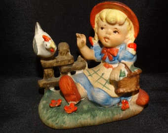 Farm Girl, Little Girl Japan Figure, Chicken, Farm, Fence, Grass, Flowers, Egg Basket, Hummel Like, Country, Primitive, 48J