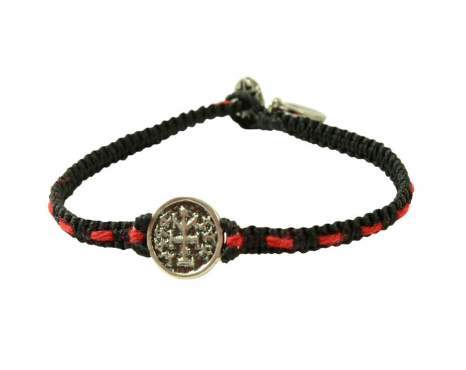 Handmade 925 Silver Winning Amulet on Handwoven Macrame Bracelet with Original Red Kabbalah String Woven In - Men & Women