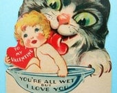 Vintage Valentine's Day Card Scary Cat Licking Child in Bowl Weird and Creepy