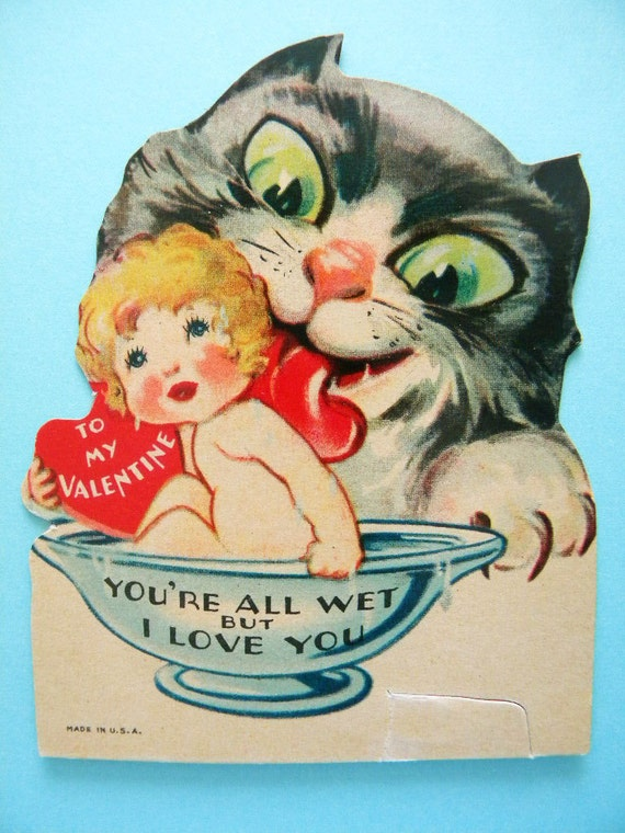 Vintage Valentineu0027s Day Card Scary Cat Licking Child In Bowl Weird And  Creepy Very Creepy Valentine Card In Excellent, Used Condition.