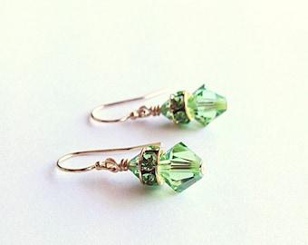 Green bridesmaids earrings - green crystal earrings - wedding earrings - peridot earrings - 3rd anniversary gift - crystal jewelry - 15th