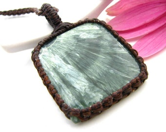 Seraphinite Necklace / Angel wing necklace / Angel jewelry / Angels / Yoga jewelry / Gemstone pendant / Hippy / angel necklace /