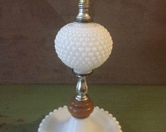 Vintage Milk Glass Hobnail Lamp with Wood Accent
