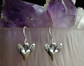 Winged Heart Earrings, Sterling Silver, Wax Cast, Sufi Heart, Heart Earrings, Artisan Made, Everyday Earrings