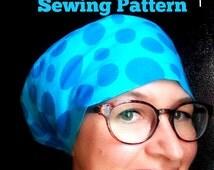 Scrub Hat Sewing Pattern DIY Slimline Scrub Hat Chef's Cap pdf SEWING Tutorial, Instant DOWNLOAD,full coverage #dbap005