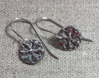 Fine Silver Tiny Flower Antique Button Earrings