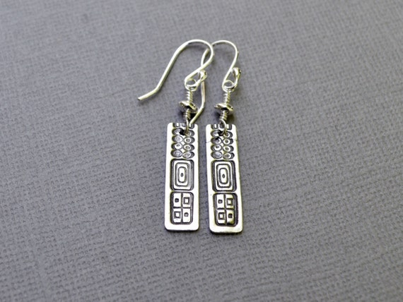 Silver Geometric Earrings Sterling Silver Rectangle Tribal Column Sticks Long Dangle Earrings PMC Fine Silver