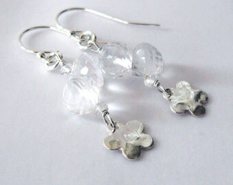 Rock Crystal Quartz Gemstone Earrings, Sterling Silver Flower Dangles, Ear Wire Options