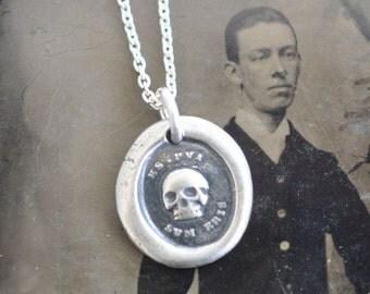 skull necklace - skull wax seal necklace - es fui sum eris - Latin motto - memento mori - sterling silver - antique wax seal jewelry