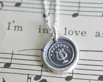 lyre wax seal necklace ... I respond - harp classical musical instrument - silver Victorian trinket wax seal jewelry