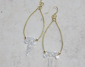 Clear Quartz Bead Gold Hoop Earrings, Rustic, Boho, Quatrz Bead Earrings, Beaded Hoop Earrings, Beaded Gold Earrings