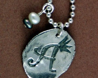 SALE  Charm Initial Artisan Handcrafted Sterling Silver