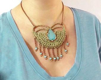Crochet necklace,hemp necklace,tribal necklace,ceramic necklace,fringe necklace,ethnic,boho necklace,boho style,aqua,giada cortellini,summer
