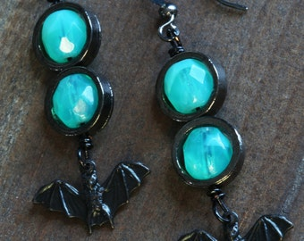 Goth - Earrings with Black Bat and Uranium Glass