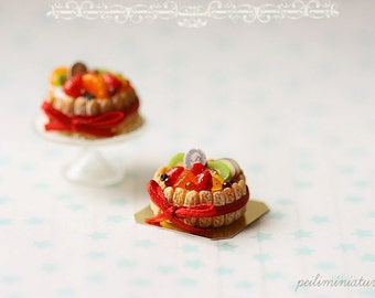 1:12 Dollhouse Miniatures - Mixed Fruit Charlotte Cake