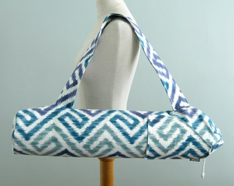 Yoga Bag. Yoga Gift for Mom. Ikat Maze Yoga Mat Bag. Geometric Yoga Bag. Yoga Mat Carrier. Yoga Mat Tote Bag. Fitness Gifts for Women.