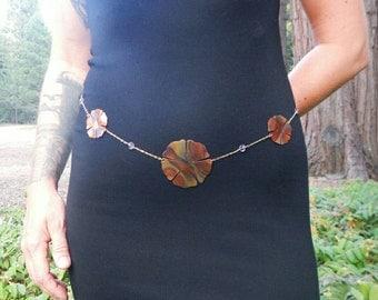 Hibiscus Flower Chain Belt, Amethyst Gemstone Belly Chain, Hammered Copper Chain Belt, Copper Crystal Waist Chain