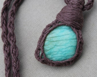 Amazonite and Hemp Wrap Necklace - Natural Bohemian Hippie