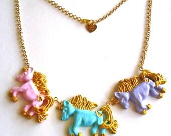SALE Pastel Unicorn Necklace Unicorn Statement Necklace Unicorn Jewelry Rainbow Pony Necklace Pastel Goth Kawaii Jewelry